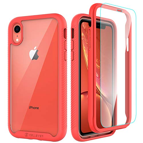 CellEver Compatible with iPhone XR Case, Clear Full Body Heavy Duty Protective Case Anti-Slip Full Body Transparent Cover Designed for iPhone XR 6.1 inch (2X Glass Screen Protector Included) - Coral