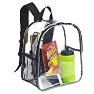 Clear School Backpack, Transparent See Through Backpack with Reflective Stripes for Work, Travel, Co...