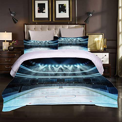 XOYKX Bettwäsche Set 135X200Cm - Kinderbettwäsche - 2 Kissenbezug 80X80 + Bettbezug 135X200 Sport Eishockey Arena 3 Teilig Weiche Flauschige Mikrofaser Bettbezüge Mit Reißverschluss
