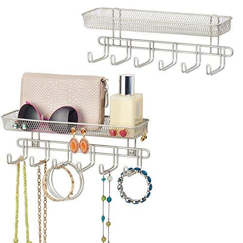 mDesign Set da 2 Appendiabiti da muro – 6 ganci attaccapanni con un ripiano portaoggetti ciascuno – Appendino ideale per collane, cinture, o cappelli – argento opaco