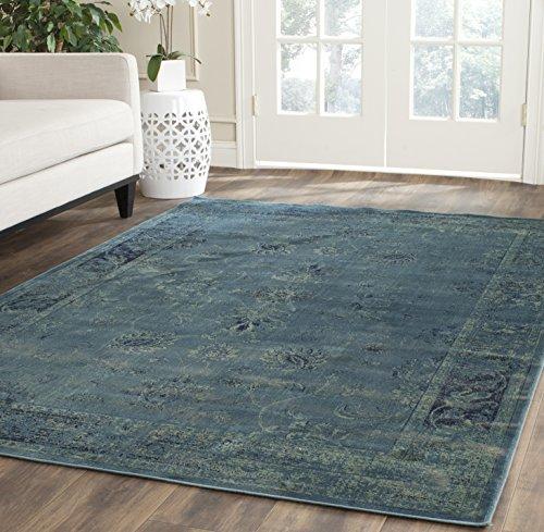Safavieh Vintage Inspirierter Teppich, VTG117, Gewebter Weiche Viskose-Faser, Türkis Blau / Mehrfarbig, 160 x 230 cm