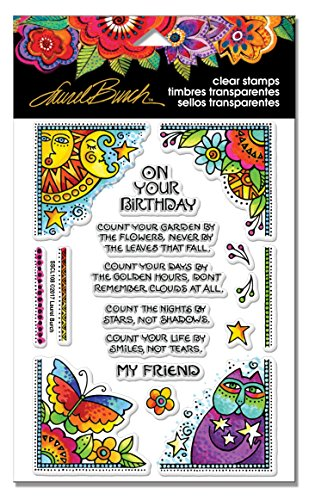 Stampendous SSCL108 Laurel Burch Birthday Corners Clear Stamp Set
