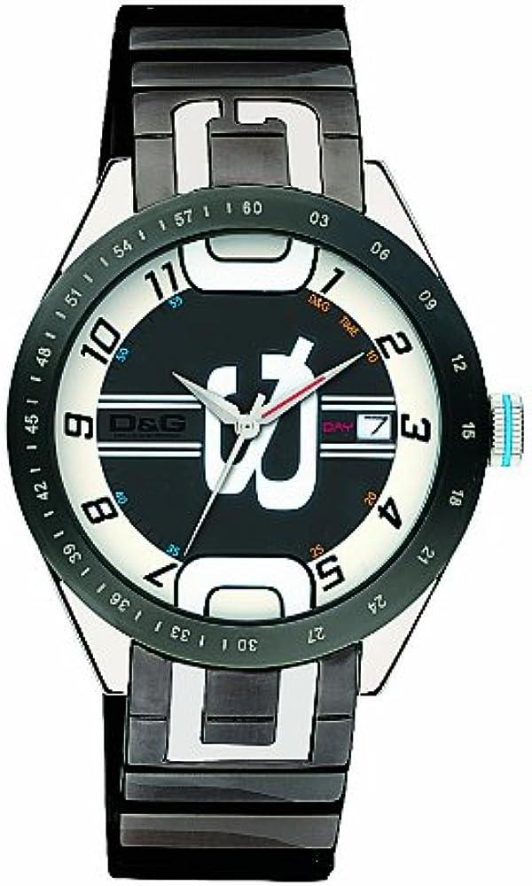 Dolce & gabbana,orologio da uomo,cassa in acciaio lunetta in acciaio con trattamento ip grigio DW0319