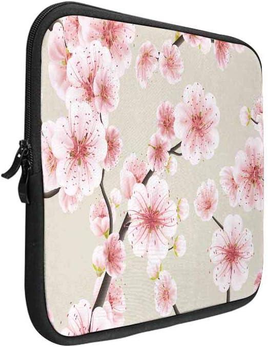 INTERESTPRINT Laptop Sleeve Peony Pattern Notebook Neoprene Pouch Case Bag 15.4 Inch 15.6 Inch