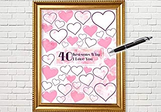 40 Reasons Why I Love You Present Gift for Him Gift for Her Wall Art Custom Personalized Signature Sign Unframed