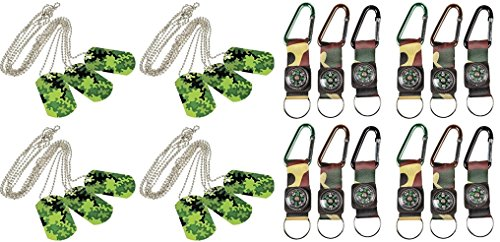 Military Adventure Set -12 CAMOUFLAGE ARMY BELT CLIP COMPASS KEY CHAINS + 12 CAMOUFLAGE DOG TAGS
