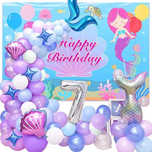 7 Años Mermaid Cumpleaños Fiesta Decoración Niña, Sirena Guirnalda Globos, Globos Cola Sirena, Globos Látex Azul Púrpura Verde Para Decoración Fiesta Cumpleaños De Princesa