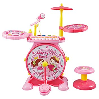 Reditmo Toddlers Toy Drum Set for Kids with Mini Piano Keyboard Microphone Drum Sticks Solid Stool Cultivating Musical Talent for 3-6 Years Old Baby Children Pink