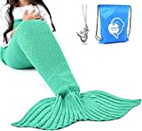 LAGHCAT Mermaid Tail Blanket Crochet Mermaid Blanket for Adult, Soft All Seasons Snuggle Mermaid Sleeping Bag Blankets, Classic Pattern, 71x35.5 Inch, Green