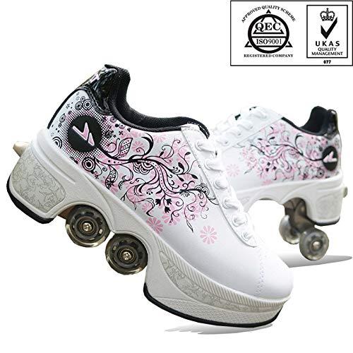 FGERTQW Unisexe Skates 2-in-1 Multifunktions 4-Rad Verstellbare Rollschuhe,Verstecktes Rad Für Laufsportschuhe Zum Spielen,Einstellbare Rollschuhe Für Skaten,Laufen,White-35