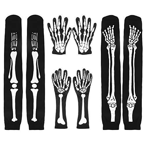 Guantes de esqueleto blancos, 2 juegos de guantes de esqueleto de Halloween, guantes de calavera, guantes de hueso y calcetines de esqueleto para fiesta de disfraces de baile de Halloween para adultos