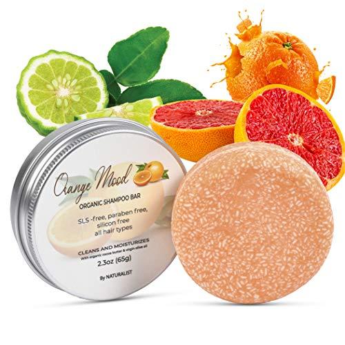Solid Shampoo Bar, 100% Organic, Plant Based, SLS Free, Vegan, All Hair Types & Body Care   pH Balanced, Plastic Free   Eco Friendly, Safe For Travel (Orange Mood)