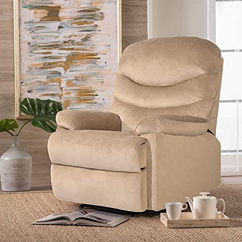 Jummico recliner chair adjustable home massage sofa theater seating recliner sofa furniture single lounge modern living room chair (beige)