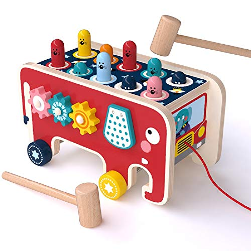 Arkmiido Wooden Hammer Toys with 2 Mallets