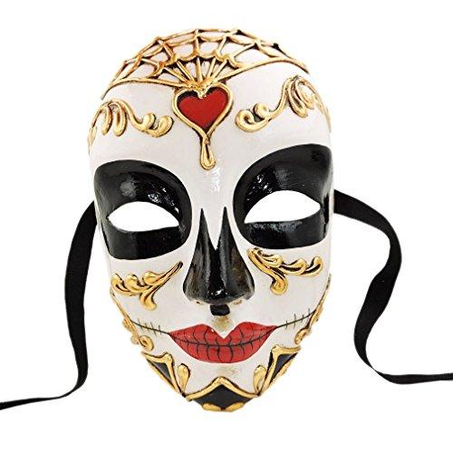 Unbespielt Venezianische Maske Volto Morte Red Handarbeit Karneval Fasching Venedig
