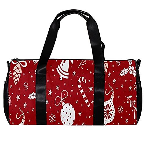Bolsa de deporte redonda con correa de hombro desmontable decoraciones de Navidad campanas calcetines de copo de nieve rojo entrenamiento bolso de noche para mujeres y hombres