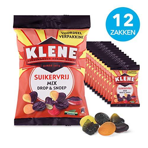 Klene Drop Gums suikervrij – 12 zakken, 160g per stuk, drop en fruit in verschillende vormen en kleuren