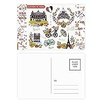 秋のエッフェルパリフランス落書き 公式ポストカードセットサンクスカード郵送側20個