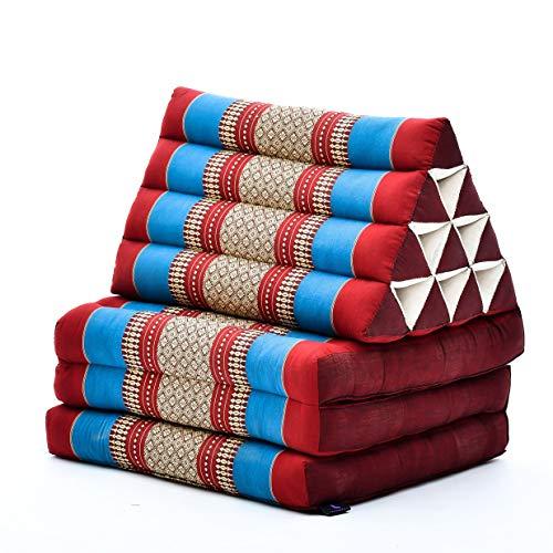 Leewadee Thai-Kissen Falt-Matratze Chill-Out Klapp-Matte Gepolsterte Lesestütze Boden-Liege-Matte mit Dreieck-Kissen Thai-Matte, 170x53x40 cm, Kapok, blau rot