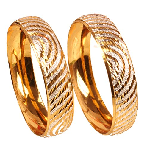Touchstone Golden Bangle Collection Indian Bollywood Desire Fine Hand Splashing Work Depiction of Indian Fine Jewelry Mark Designer Bangle Bracelets Set of 2 In Gold Tone For Women