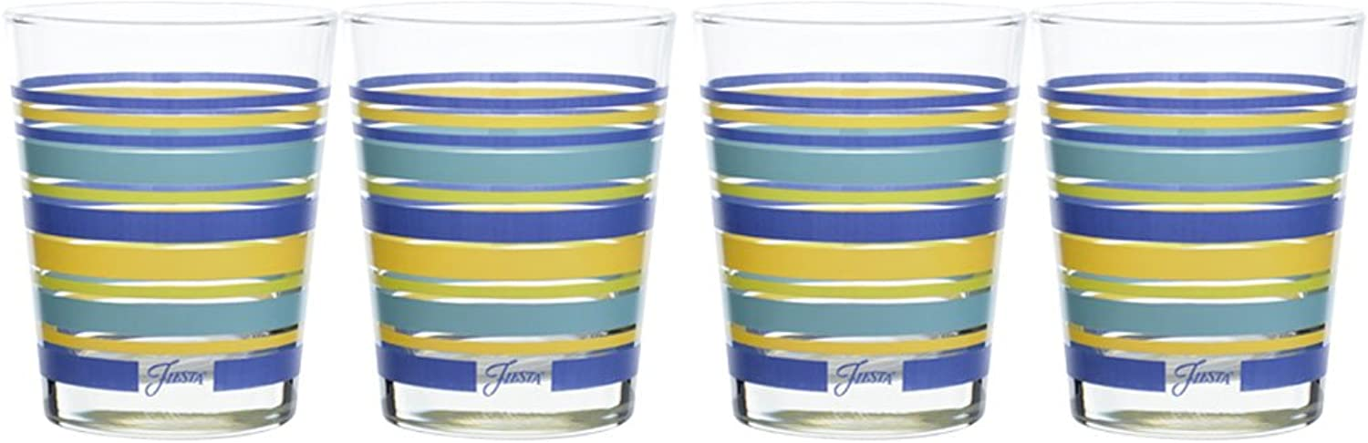 Fiesta Lapis Stripe 14-Ounce Tapered DOF Double Old Fashioned Glass (Set of 4)