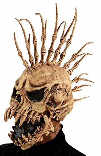 shoperama Deluxe Horror-Maske Totenkopf Irokese mit Fangzähnen Halloween Latex Knochen