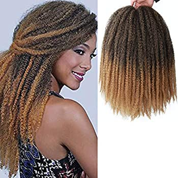 ALENTOO Marlry Hair 4 Packs Marley Twist Crochet Braids 18 Inch Afro Kinky Twist Crochet Hair Marley Hair for Twists Synthetic 2 Tone Mixed Colour Kinky Hair Extension T/27#