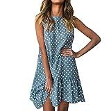 Falda Femenino, Yesmile Maxi Vestidos Suave Lunares Largo Vestido de Mujer de tipo Parte superior del tubo Elegantes Tunica para Boda Fiesta (L, Azul)