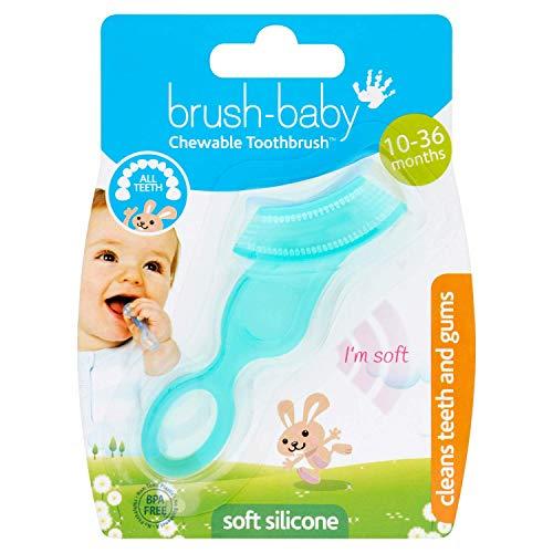 Brosse à dents souple à mordiller Brush-Baby pour bébés et nourrissons | Dentition Bébé Stade 2 | Convient de 10 à 36 mois | Nettoie et soulage les gencives douloureuses | Sarcelle, Boîte de 1