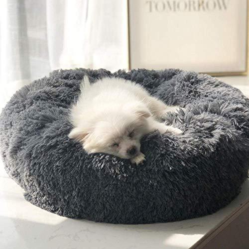 KongEU extra großes Hundebett mit kuscheligem Plüsch,warm und weich Rundes Hundekissen Hundekorb Katzenbett Hunde Sofa abwaschbar für mittleregroße und groß Haustier-dunkelgrau-XL:100 * 100 * 20cm