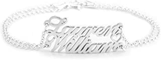 "YAFEINI 925 Sterling Silver Personalized Two Name Charm Anklet with Heart Custom Name Anklet Made with Any Names Adjustable 8.5""-10"""