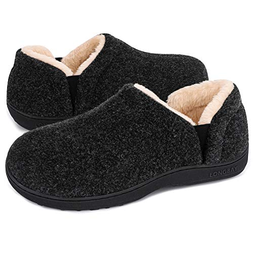 LongBay Men's Cozy Memory Foam Slippers Comfy House Shoes (Small / 7-8, Dark Grey)