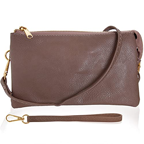 Humble Chic Vegan Leather Wristlet Wallets for Women, Phone Clutch or Small Purse Crossbody Bag, Includes Adjustable Shoulder and Wrist Straps, Taupe Brown, Tan