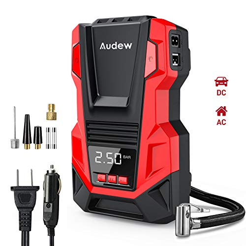 Audew Portable AC/DC Air Compressor Tire Inflator with Gauge, 150 PSI Tire Pump for Car,Bicycle,Motorcycle,Basketball,Pool Toys