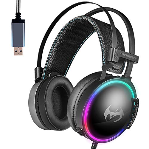 USB Gaming Headset for PC,7.1 Surround Sound Computer Gaming Headphones, Noise Canceling Headset with Invisible Microphone RGB Light for Computer Mac Laptop by Hangfa