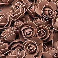 RBZCCP フォームバラ500ピース3.5cm人工泡の花の頭部DIY 20cmテディベア型Peローズベアアクセサリー装飾バレンタインの贈り物 (Color : Brown)
