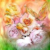 Diamante bordado rosas rosadas y mariposa patrón pintura diamante imagen diamantes de imitación diamante mosaico punto de cruz rosa-redondo 40x40cm