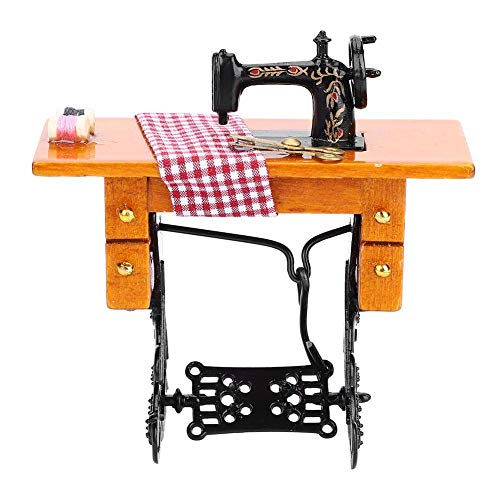 Máquina de Coser 1:12 Máquina de Coser de Madera de Muebles En Miniaturade Casa de Muñecas para Juguete de Decoración de Accesorios dela Casa de Muñecas Máquina de Coser Dollhouse para Antigüedades