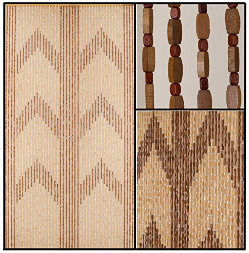 "BeadedString Natural Wood and Bamboo Beaded Curtain-45 Strands-77 High-Bamboo and Wooden Doorway Beads-Boho Bohemian Curtain-35.5"" W x 77"" H-Panna"