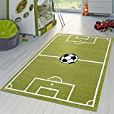 T&T Design Kinder Teppich Fußball Spielen Kinderzimmerteppiche Fußballplatz in Grün Creme