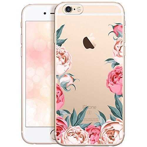 QULT Cover per Telefono Compatibile con iPhone 6 Plus / 6S Plus - Custodia per Telefono in Silicone Trasparente con Motivi - Cover per Telefono Ultrasottile Peonies
