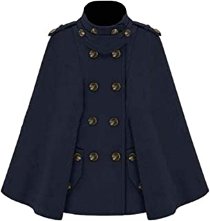 Macondoo Womens Cape Poncho Winter Stand Collar Double Breasted Pea Coat Jacket
