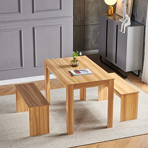nozama Dining Table with Benches Compact Modern Kitchen Table Bench Set Wooden Table and 2 Benches for 4 Dinette Table and Chairs (Wood)