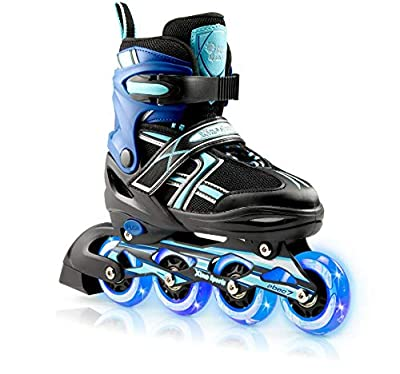 XinoSports Kids Inline Skates for Girls & Boys - Adjustable Roller Blades with LED Illuminating Light Up Wheels - Youth Skates Can Be Used Indoors & Outdoors - Sizes for Ages 5-20