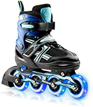 XinoSports Kids Inline Skates for Girls & Boys - Adjustable Roller Blades with LED Illuminating Light Up Wheels - Youth Sk...