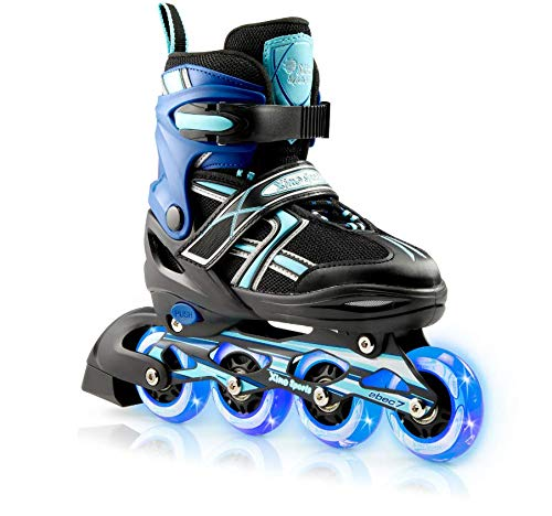 Xino Sports Kids Inline Skates for Girls & Boys - Adjustable Roller Blades With LED Illuminating Light Up Wheels - Youth Skates Can Be Used Indoors & Outdoors - Sizes for Ages 5-20 - Aqua Medium - 1-4