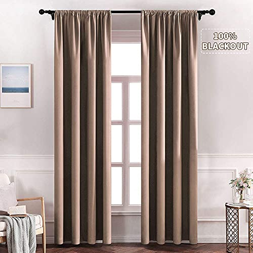 MIULEE 100% Blackout Curtains for Bedroom Darken Long Window Curtains for Light Block Out and Thermal Insulated, 2 Panels, W 52 x L 90 inches, Khaki