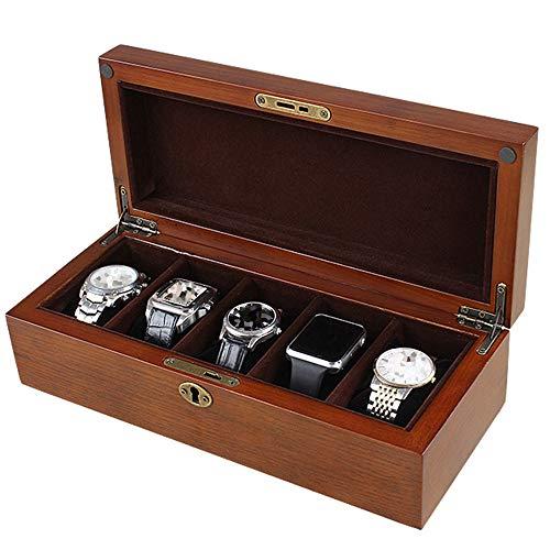 CARLAMPCR Cajas para Relojes/Caja De Reloj De Madera, Caja De ExhibicióN De Almacenamiento De Joyas, Hermosa Cerradura 5 Almacenamiento De Reloj Y Almohada Desmontable