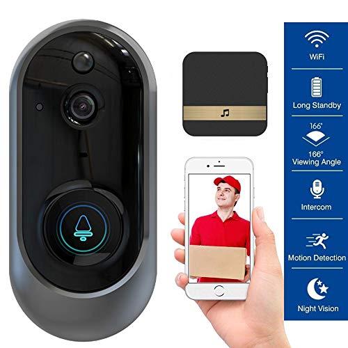 M-TOP Draadloze deurintercom voor buiten, draadloos, draadloos, draadloos, 720p HD deurbel met bewegingssensor, deurspion met bidirectionele communicatie