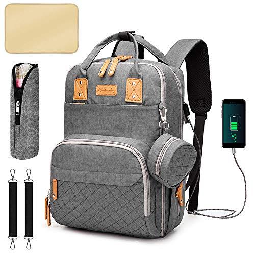 Phiraggit Mochila con bolsa de pañales, bolsa de pañales, mochila de viaje impermeable multifuncional con gran capacidad, cambiador portátil, soporte para chupete y correas para cochecito